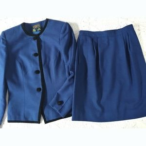 Wool Suit Skirt Jacket 8P Professional Dress